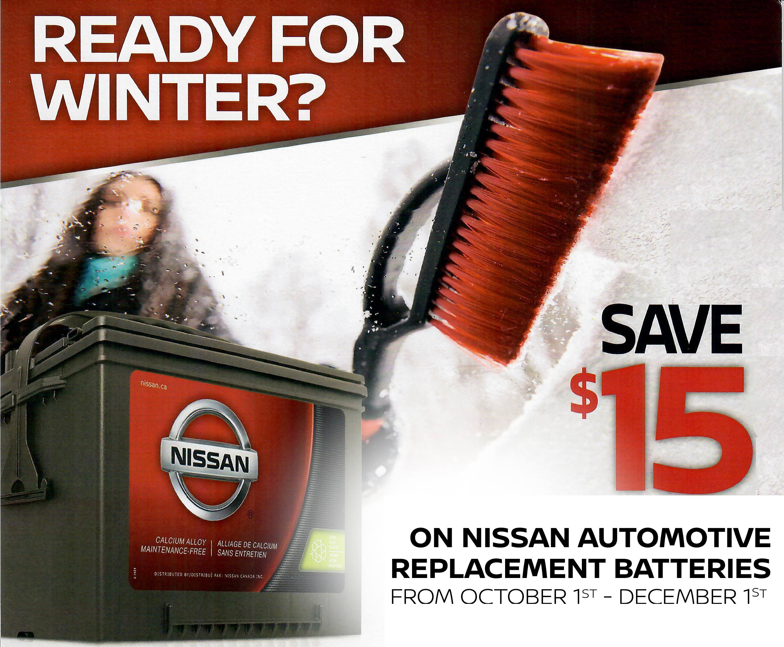 $15 Mail-In-Rebate On Nissan Replacement Batteries